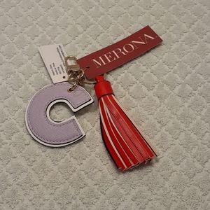 Merona Initial Keychain Purple C Red Tassel